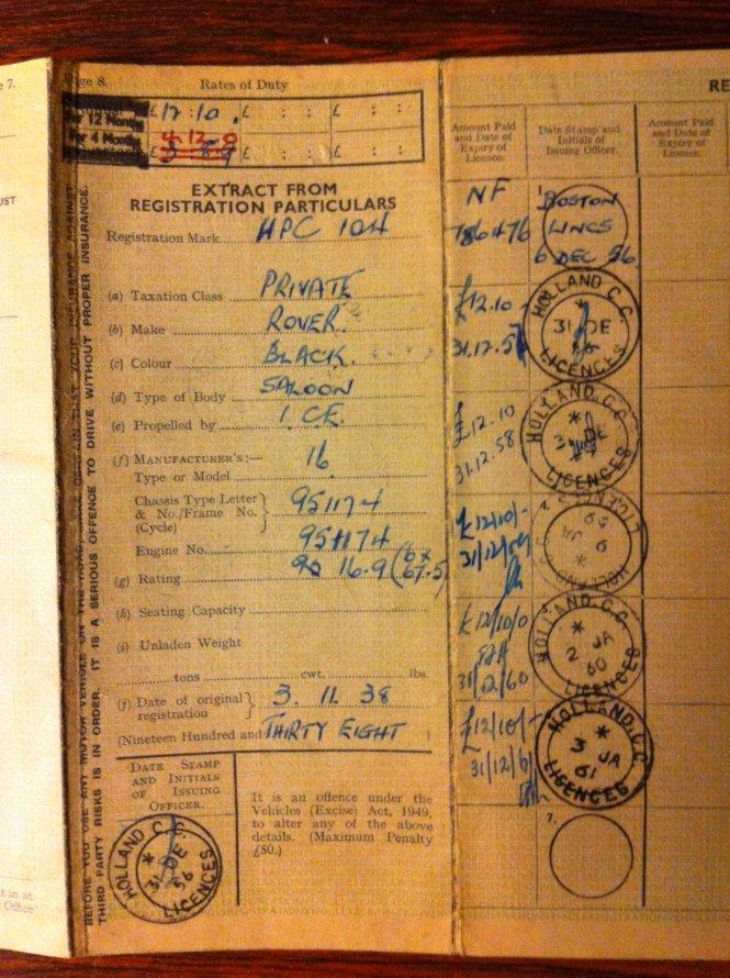 13.08.2014 Originele Engelse kentekenbewijs 3.11.1938